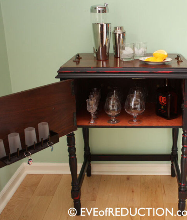 After photo of sewing cabinet upcycled into a bar cart. Top is a removable serving tray.