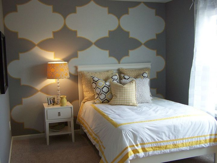 Large pattern I cut and painted and then added a band of yellow to pick up the accent color in the room.  Painted for Terri Kemp Interiors.
