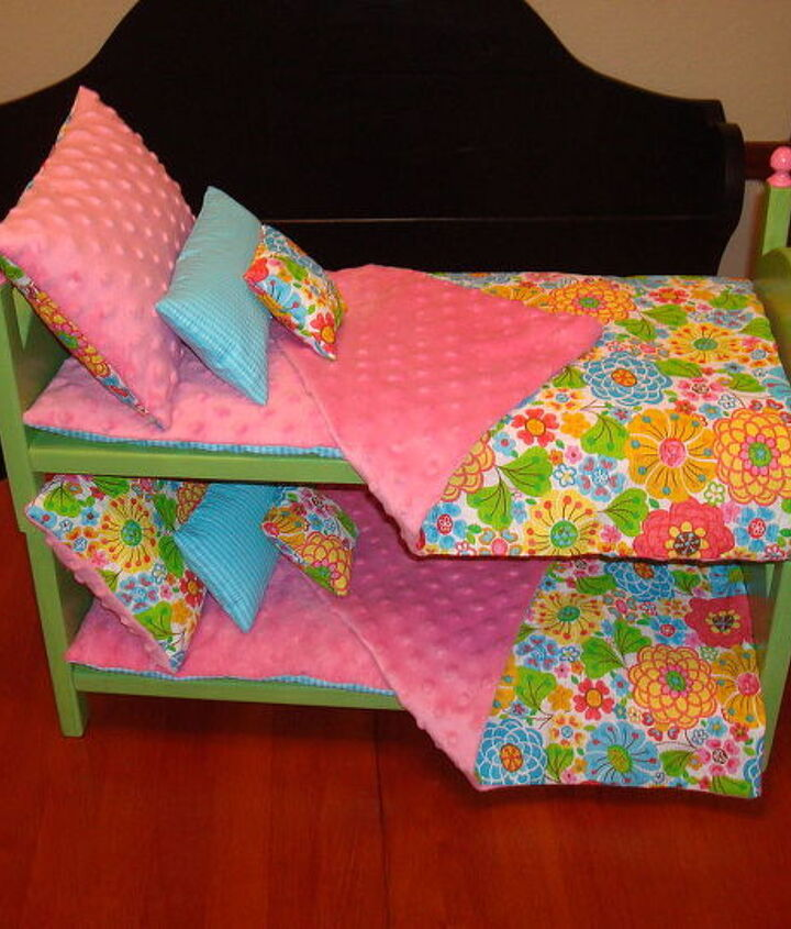 My wife made the bedding and pillows for our Grand-daughter's American Girl Dolls.