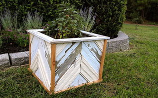 reclaimed wood planter, gardening, DIY chevron wood planter made from reclaimed fence and old bead board