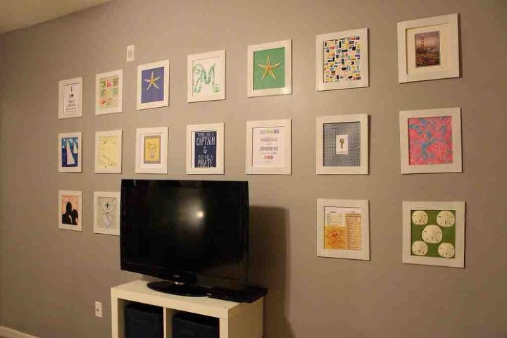 diy grid gallery wall with homemade frames, home decor, wall decor