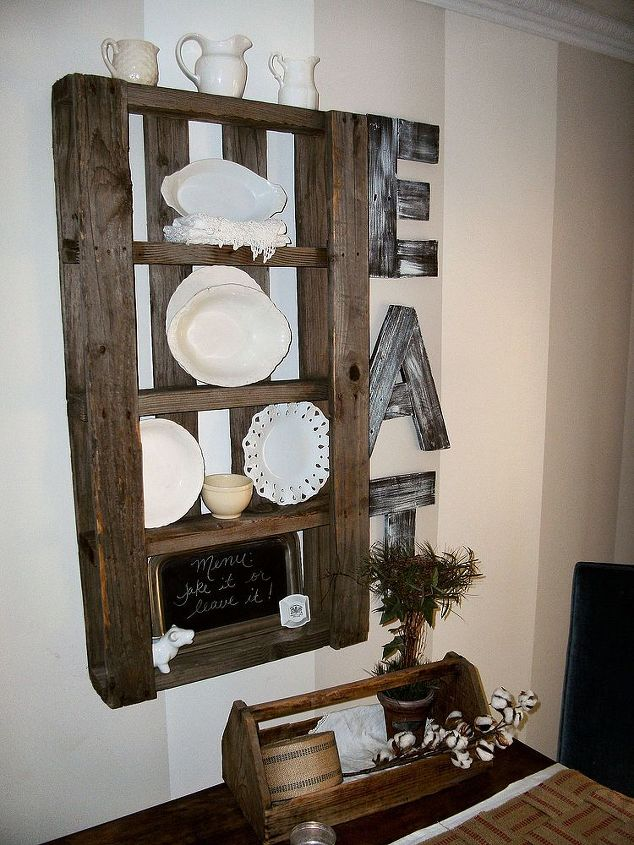 pallet plate rack eat sign, crafts, pallet, repurposing upcycling, Found some skinny pallets in a neighbor s burn pile