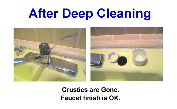 3. Multiple doses of Lime-Away (R) and scrubbing got rid of the crusty hard water deposits.