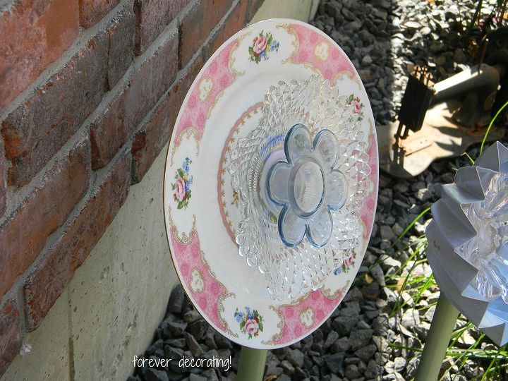 i made flowers out of various dishes and china plus metal pipe and i have really, flowers, gardening, repurposing upcycling