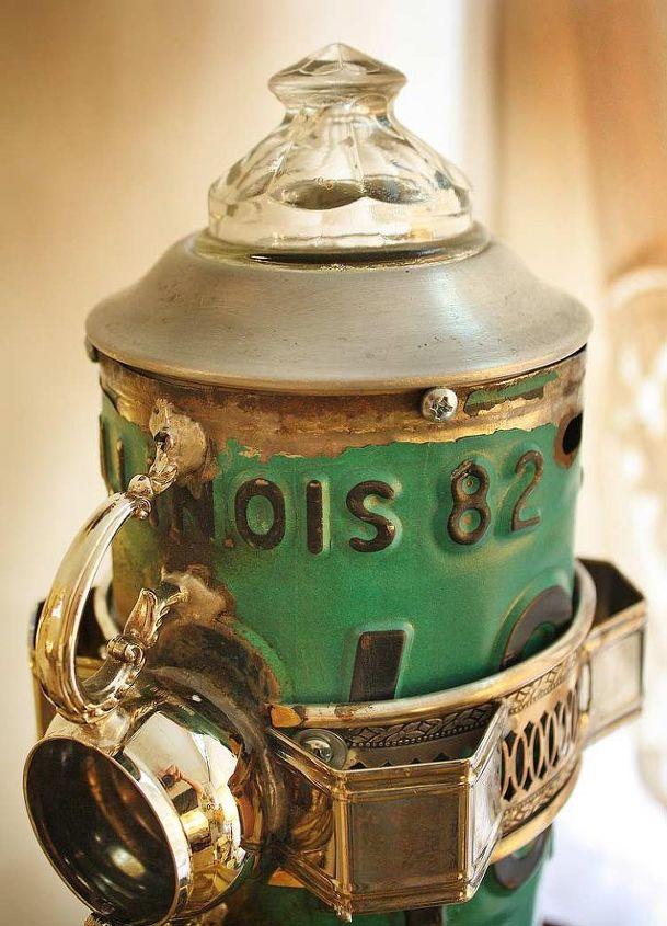 Green, Teal License Plate Silverplate Pedestal Repurposed Upcycled Metal Birdhouse