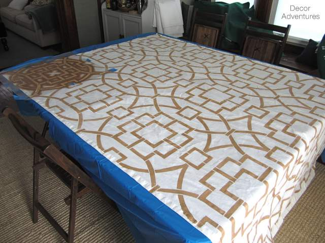 How To Stencil Curtains Using The Tea House Trellis Pattern Crafts Painting Reupholster