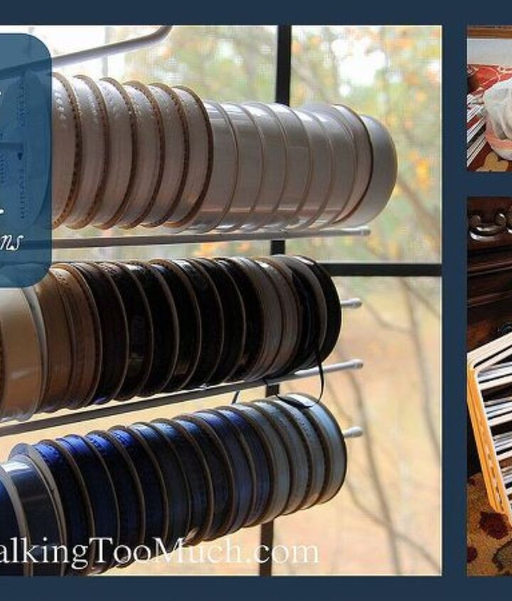 I share a few tips on how to use regular pants or slacks hangers to store your craft ribbon or wrapping ribbon. Storage and organization solution! http://youaretalkingtoomuch.com/2012/11/ribbon-organizers/
