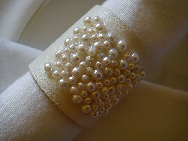 pearl leather napkin rings, crafts, home decor