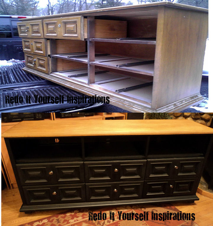 dresser to media center makeover, painted furniture