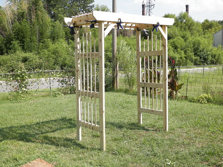 update on backyard arbor, gardening, woodworking projects