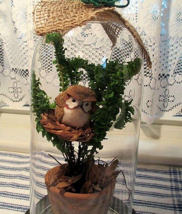 tiny fern & nesting owl under a lamp glass cloche http://pinterest.com/barbrosen/