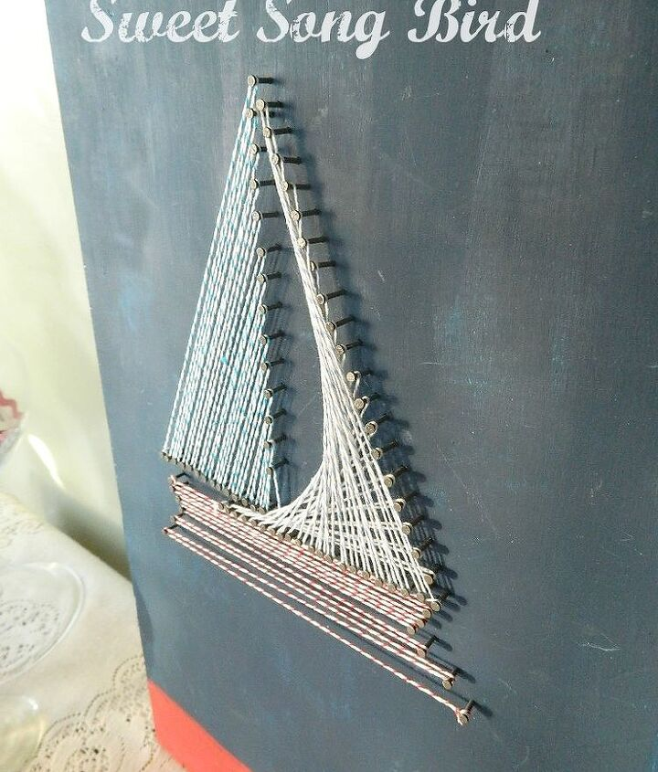 nautical string art, crafts, Make sure you leave the nails about a 1 4 of the way raised to allow for easy access while stringing as well as for dimension