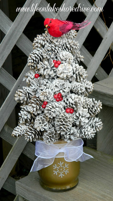 Winter Pine Cone Trees flocked with snow!