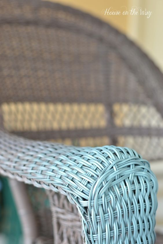 colorful wicker chairs summer makeover, outdoor furniture, painted furniture