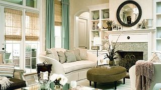q pulling together a living room in color and pattern help, home decor, living room ideas, woven blinds aqua accents sea blue neutrals with olive green love that oval ottoman