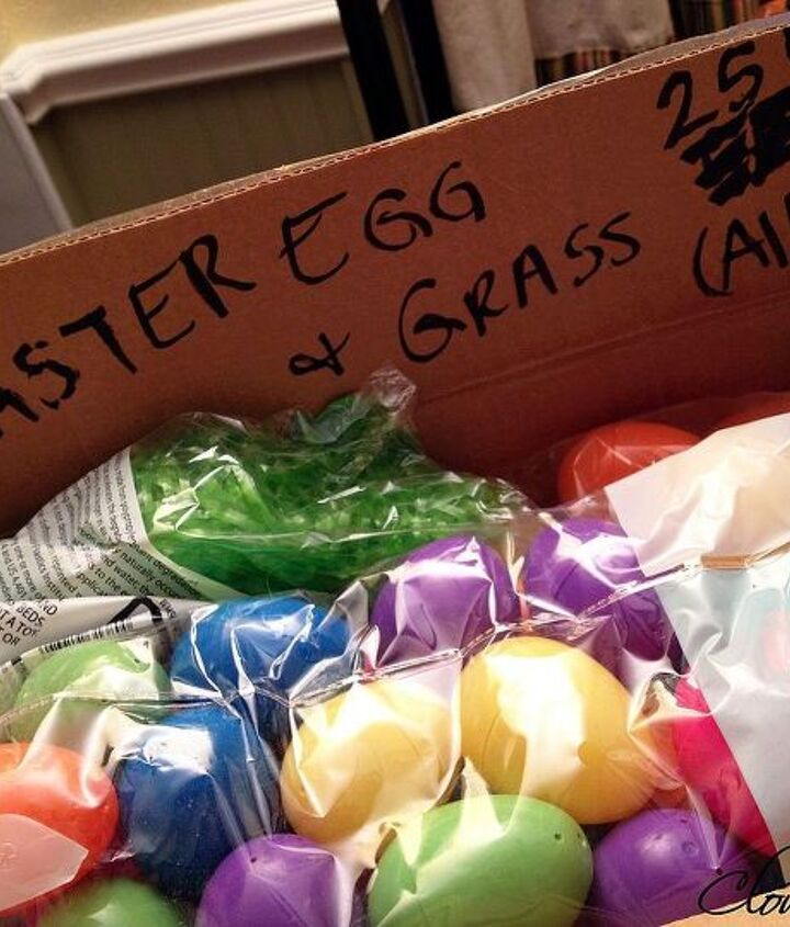 I scored at a yard sale! Only .25 cents for all the plastic eggs and grass!