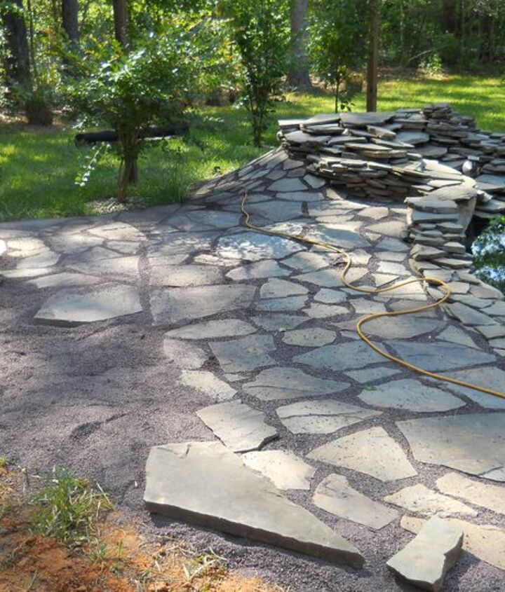 pond patio being built