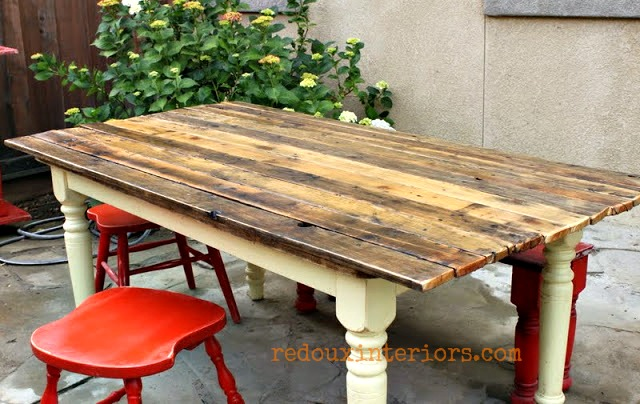 Make Your Own Plank Topped Outdoor Farm Table Hometalk - How to make a farm table