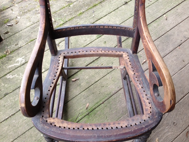 q how to upholster this old rocking chair, painted furniture
