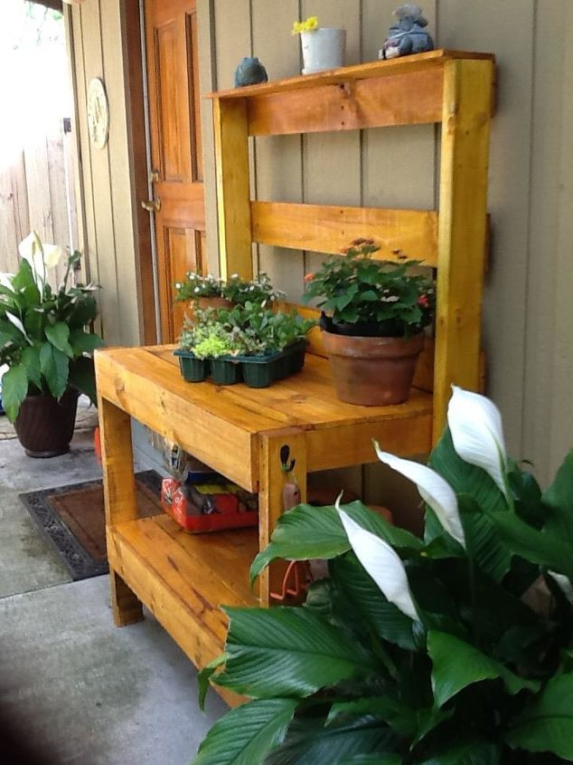 Building A Potting Bench Out Of Pallets Hometalk