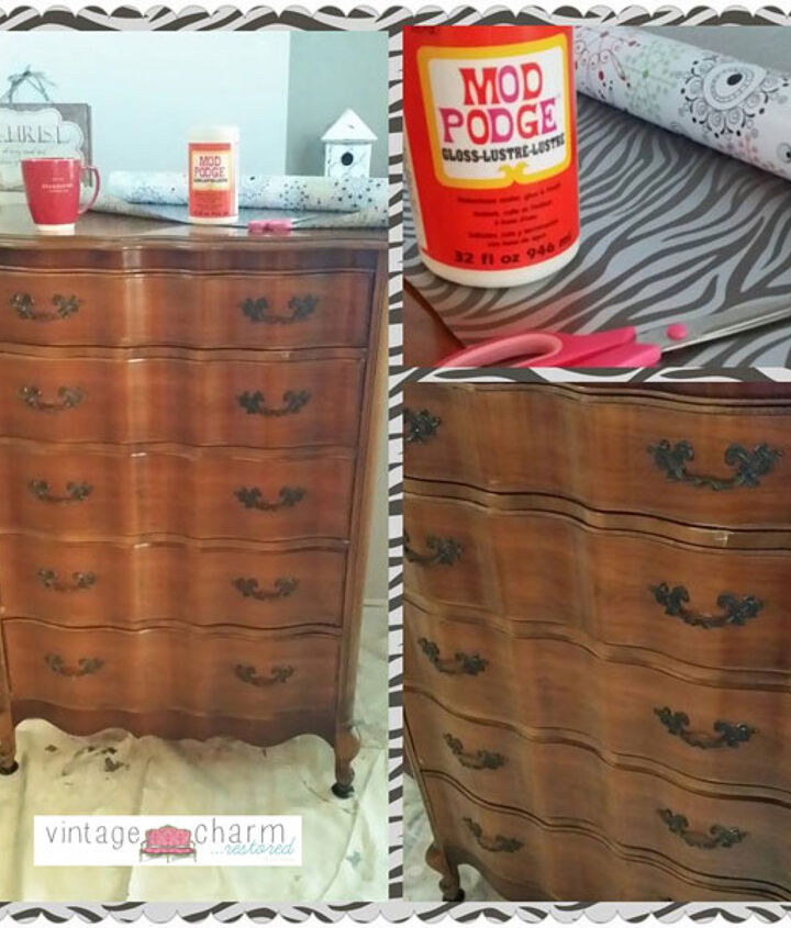 add whimsy to the side of your drawers with paper and mod podge!!