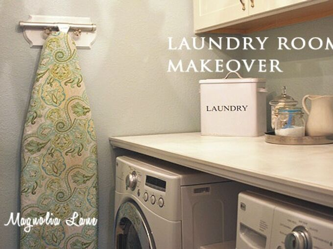 installing a diy laundry shelf over your washer dryer, diy, laundry rooms, shelving ideas, The finished built in shelf just cabinet grade plywood cut to size then painted and installed