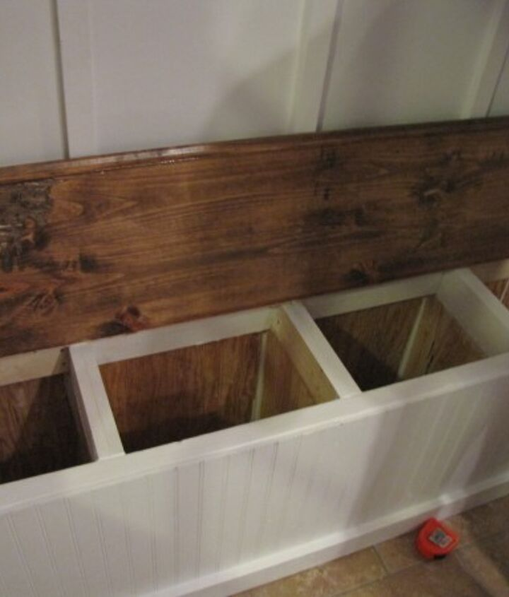 This is our shoe storage bench that I LOVED!  The boys each had a box to put their shoes in.