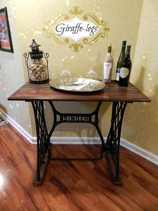 Singer sewing machine table hometalk singer sewing machine table diy painted furniture watchthetrailerfo