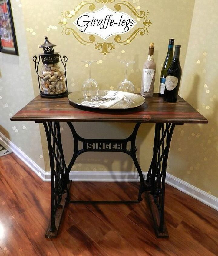singer sewing machine table, diy, painted furniture