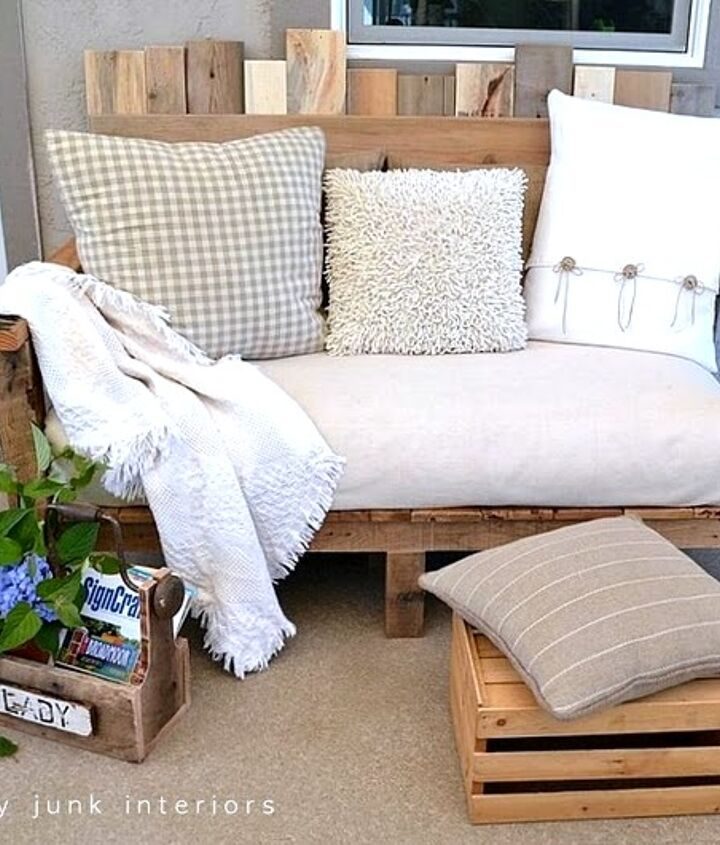 My funky little pallet sofa that I use every single day is under a covered porch. It's comfy, original and a great place for a long lazy read.  more at: http://www.funkyjunkinteriors.net/2011/08/pallet-wood-outdoor-sofa-reveal.html