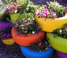 new craze old tire planters, gardening, repurposing upcycling, Via