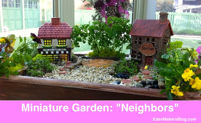 "Themed miniature garden about ""good neighbors."" Can you tell what the story is about? Look closely!"