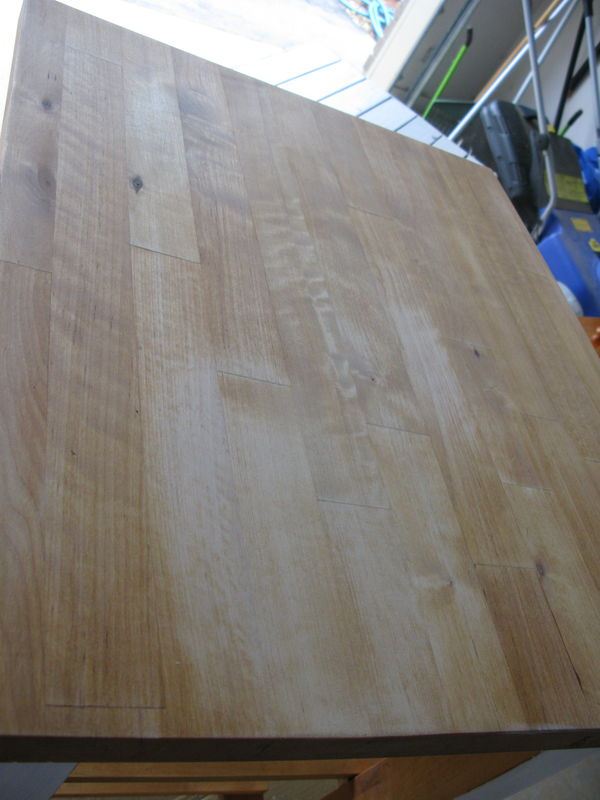 Sanded back the butchers block to get rid of marks and pan ring marks