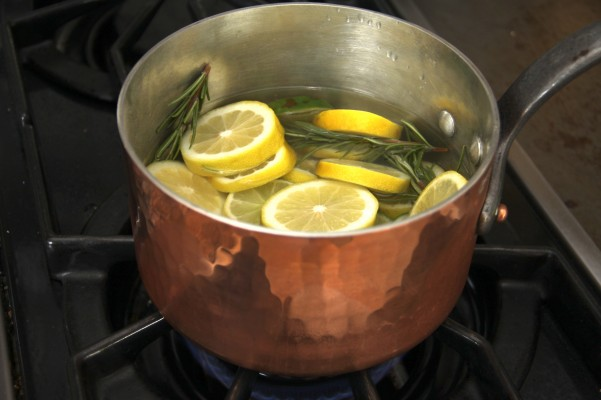 Heating the rosemary and lemon to simmer not a boil.