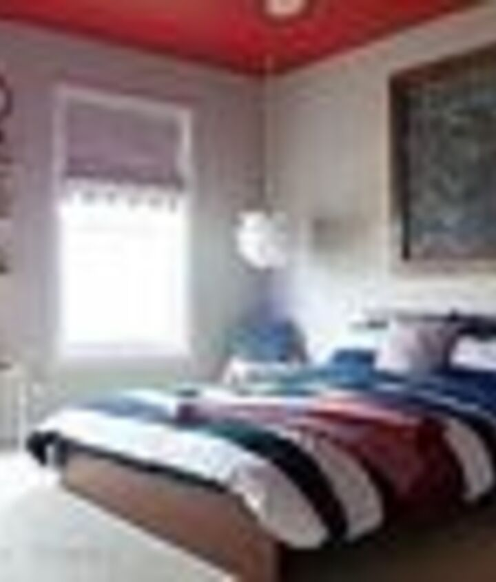 The finished room! A red ceiling gives it that pop of color and adds visual interest without overwhelming the space.