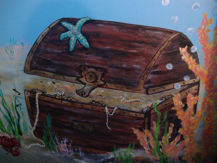 underwater mural, bedroom ideas, painting