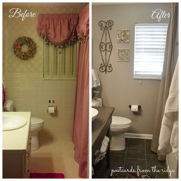 1964 bathroom makeover, bathroom ideas, home decor, Before the remodel on  the left