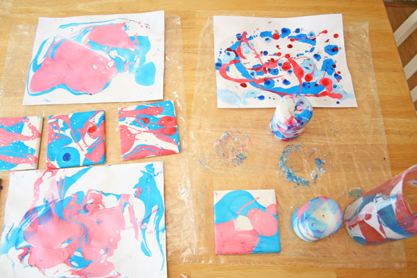 marbling with red white and blue nail polish, crafts, seasonal holiday decor