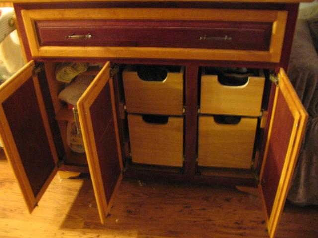 showing the shelf and pullout bins