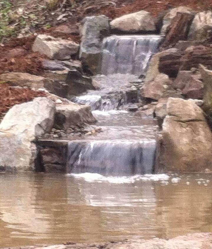Waterfall of Renovation Ecosystem Fish Pond- Pittstown, NJ