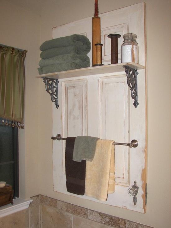 Bathroom organiser made from an old door
