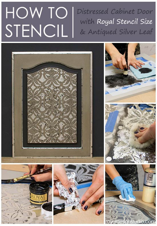 Stencil How To Using Royal Size For A Silver Accented Cabinet Door Chalk Paint