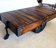 diy factory cart coffee table, painted furniture, woodworking projects, This is the finished project proudly displayed in our living room The following pictures are written from my husband s point of view