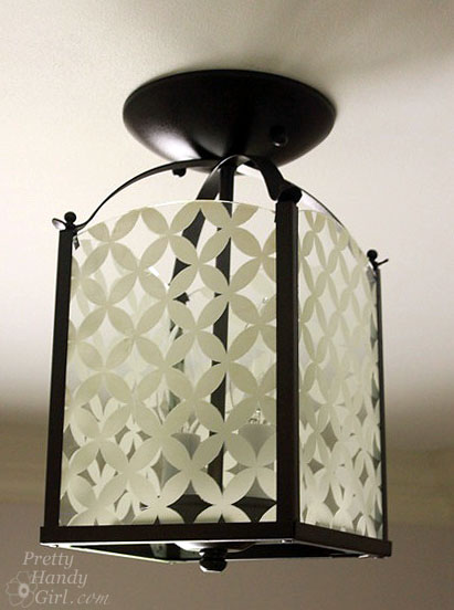 After photo of updated circle pattern light fixture.