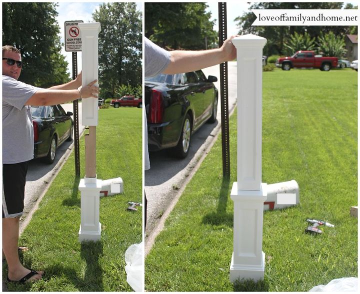The new mailbox post fit right over the top of our existing post.