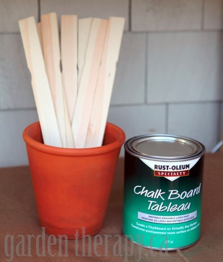 chalkboard paint plant markers, chalkboard paint, crafts, gardening, The supply list for this project is very short You will need chalkboard paint wooden stir sticks masking tape optional chalk and a foam brush or roller