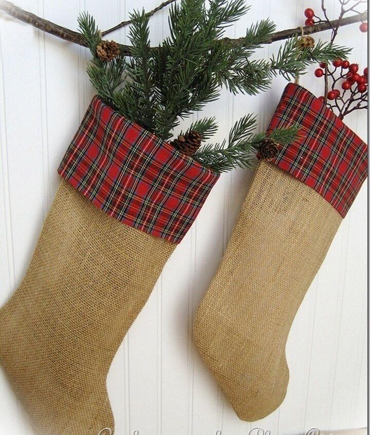 Burlap and plaid Christmas stockings