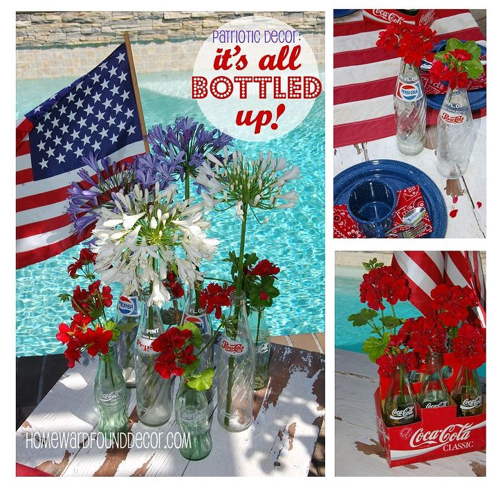A Patriotic color scheme is enhanced by the use of vintage soda bottles with red, white and blue labels - and matching flowers that look like fireworks! http://homewardfounddecor.blogspot.com/2013/06/its-all-bottled-up.html