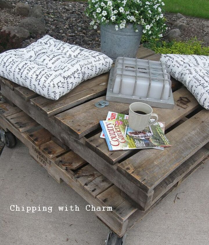 our first pallet project rustic table or comfy perch, diy, how to, painted furniture, pallet, repurposing upcycling, rustic furniture