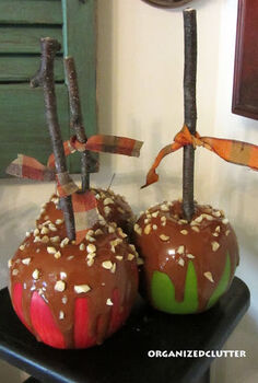 faux caramel apples, crafts, decoupage, seasonal holiday decor, Tie a ribbon on the stick